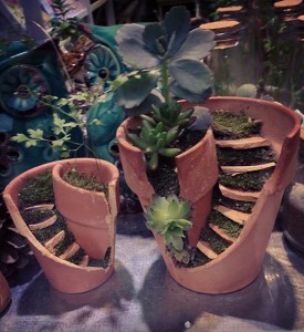 Garden Markers by broken pots