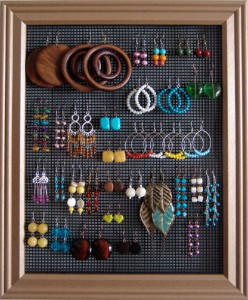 Make Earring holder from Turn a Broken Picture Frame