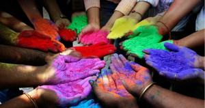 Happy Holi with colourful hands